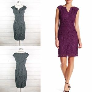 Adrianna Papell Cap Sleeve Split Neck Lace Dress 4